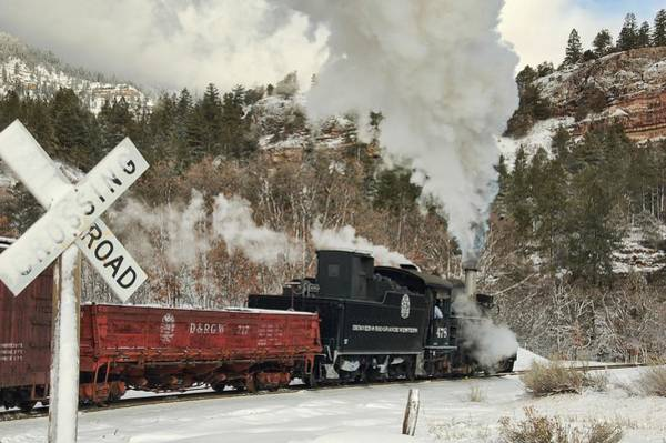 K-28 Photograph - Winter Crossbuck Crossing by Ken Smith