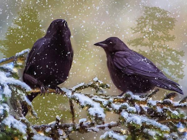 Digital Art - Winter Crows by Ken Morris