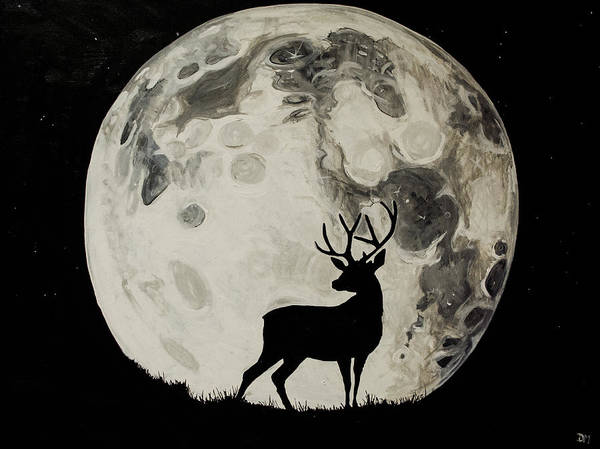 Black Buck Painting - Winter Deer by Deanna Millard