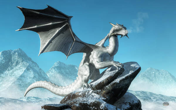 Frosty Digital Art - Winter Dragon by Daniel Eskridge