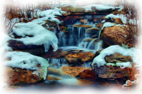 Frozen River Digital Art - Winter Falls by Dennis Lundell