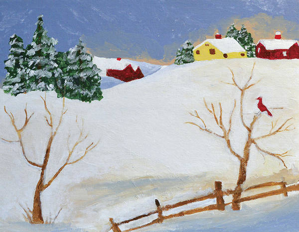 Folk Painting - Winter Farm by Bryan Penzer