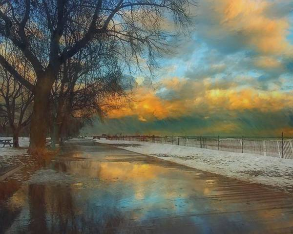 Painting - Winter Fenceline by Troy Caperton