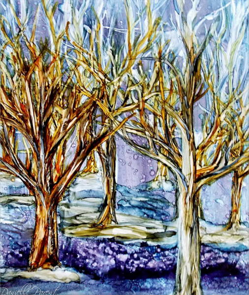 Alcohol Ink Photograph - Winter Forest Alcohol Inks by Danielle  Parent