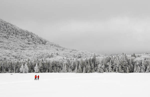 Photograph - Winter Hikers On Lonesome Lake by Ken Stampfer