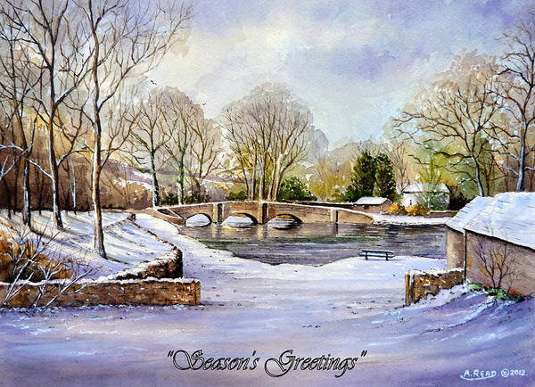 Wall Art - Painting - winter in ashford Derbyshire by Andrew Read