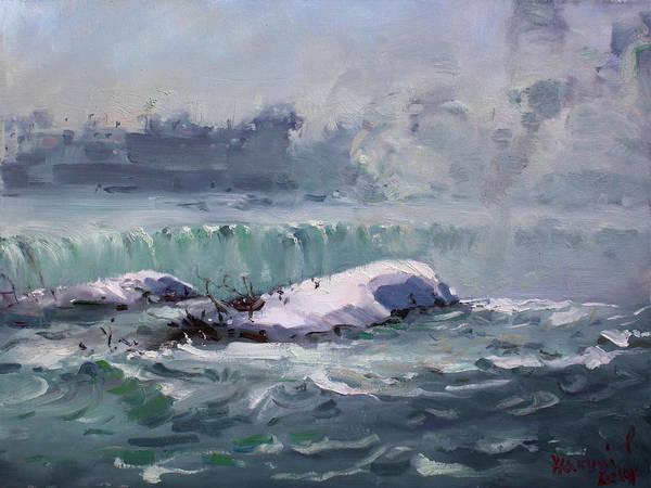 Wall Art - Painting - Winter In Niagara Waterfalls by Ylli Haruni