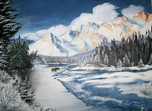 Painting - Winter In The Canadian Rockies by Sharon Duguay