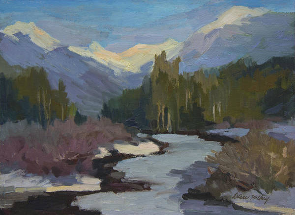 Cascade Painting - Winter In The Cascade Mountains by Diane McClary