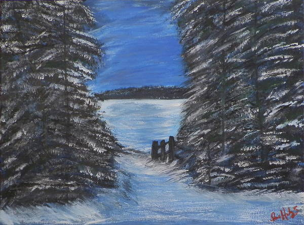 Ione Painting - Winter Lake by Ione Hedges