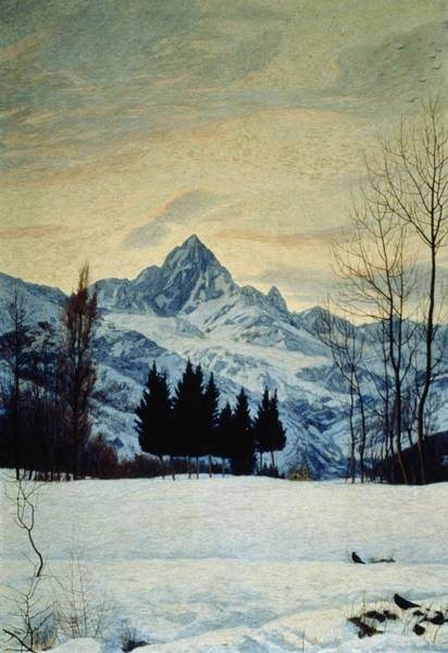 20th Painting - Winter Landscape by Matteo Olivero
