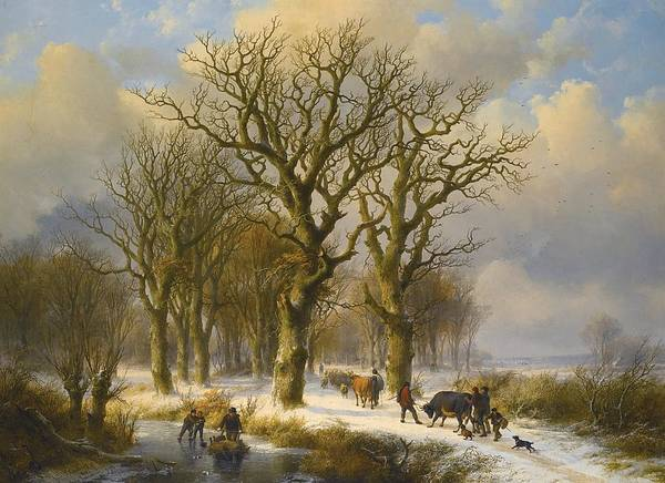 Eugene Joseph Verboeckhoven Painting - Winter Landscape With Cattle Drivers by Celestial Images