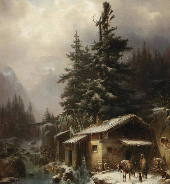 Icy Leaves Wall Art - Painting - Winter Landscape With Figures Resting Near A Water Mill by Heinrich Hofer