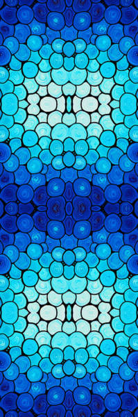 Painting - Winter Lights - Blue Mosaic Art By Sharon Cummings by Sharon Cummings