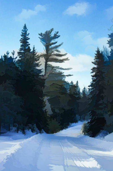 Algonquin Park Digital Art - Winter Mood Impressions - Snowy Road In Algonquin by Georgia Mizuleva