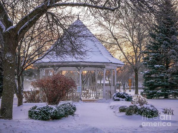 Photograph - Winter Morning Windom Park Gazebo by Kari Yearous