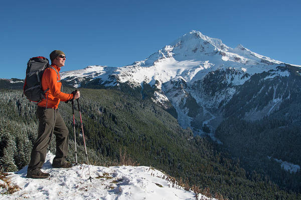 Exploration Photograph - Winter Mountain Hiker by Thinair28