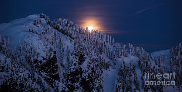 Moonrise Photograph - Winter Mountain Moonrise by Mike Reid