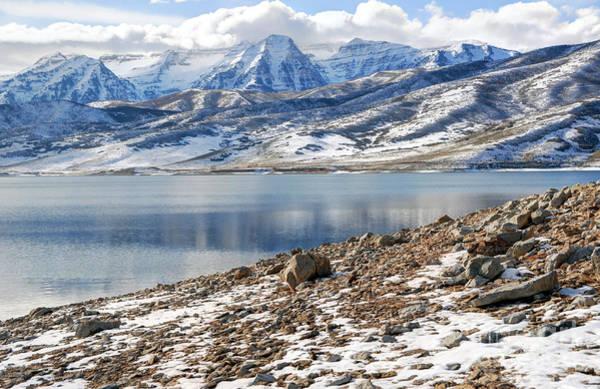 Winter Mt. Timpanogos And Deer Creek Reservoir Art Print