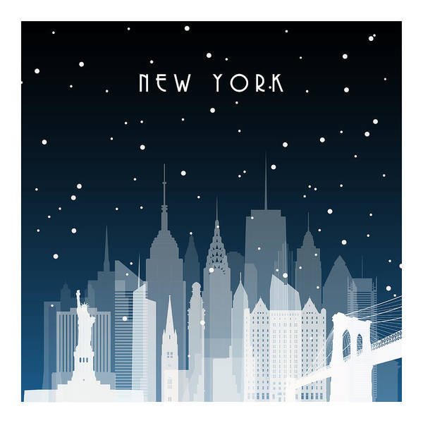 Town Square Digital Art - Winter Night In New York. Night City In by Greens87