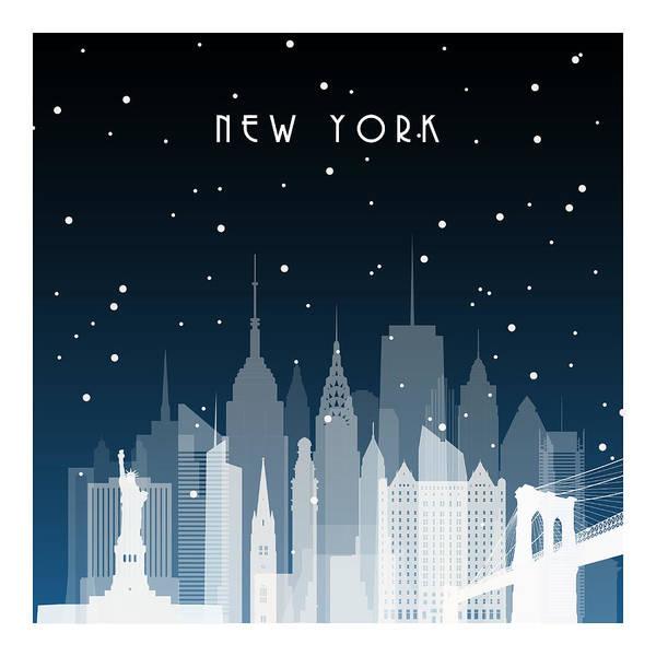 Exterior Digital Art - Winter Night In New York. Night City In by Greens87