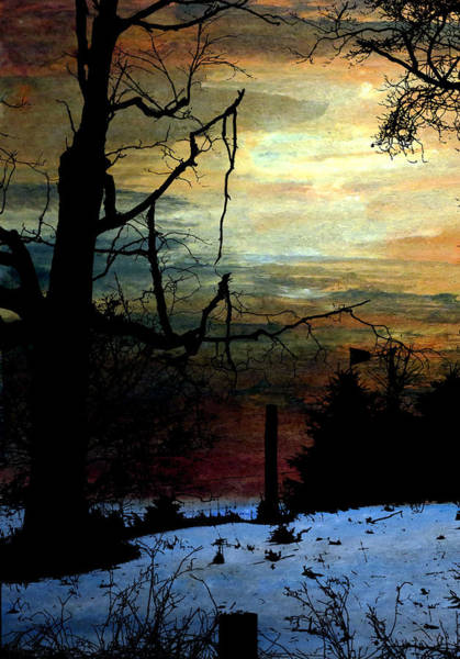 Fencepost Painting - Winter Nightfall by R Kyllo