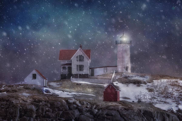 Photograph - Winter Nights At Nubble Light by Joann Vitali