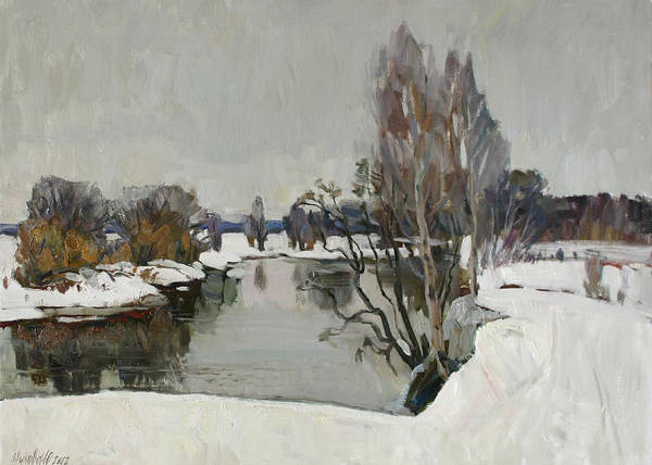 Wall Art - Painting - Winter On River Kliazma by Juliya Zhukova