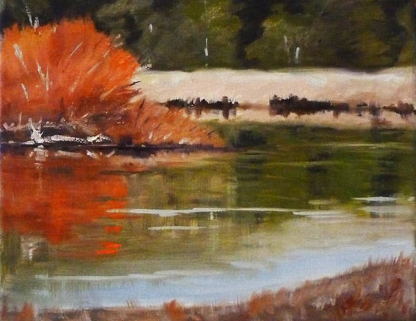 Central Oregon Wall Art - Painting - Winter On The River by Nancy Merkle