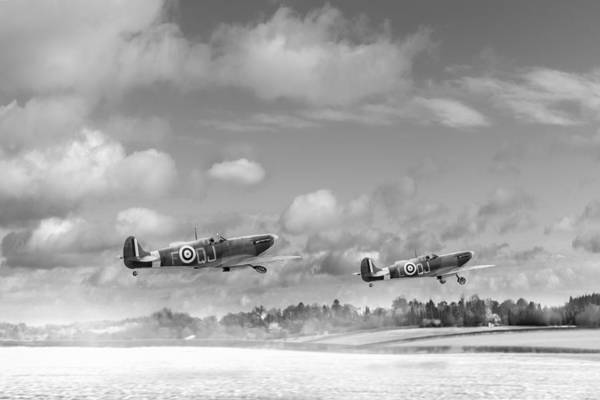 Photograph - Winter Ops Spitfires Black And White Version by Gary Eason