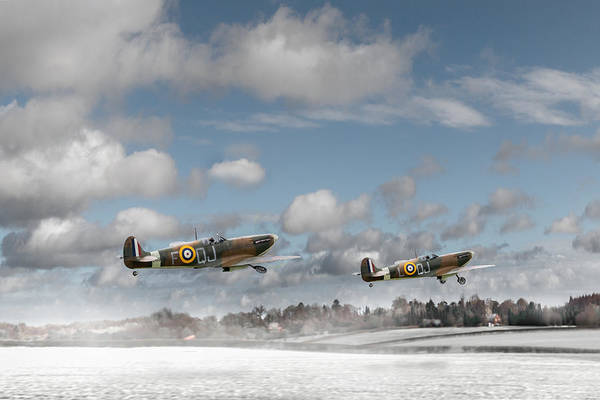 In Flight Photograph - Winter Ops Spitfires by Gary Eason