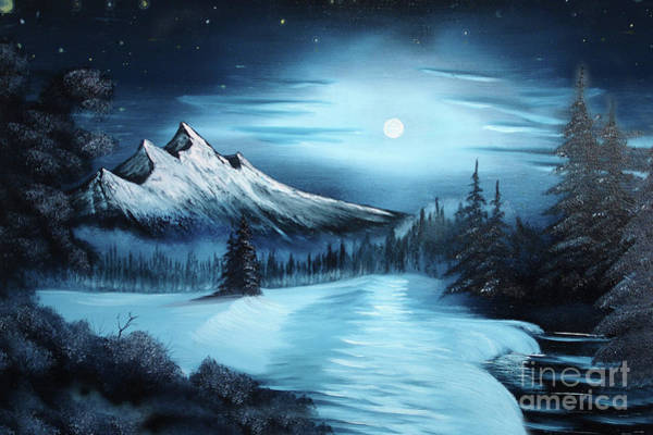 Full Moon Painting - Winter Painting A La Bob Ross by Bruno Santoro