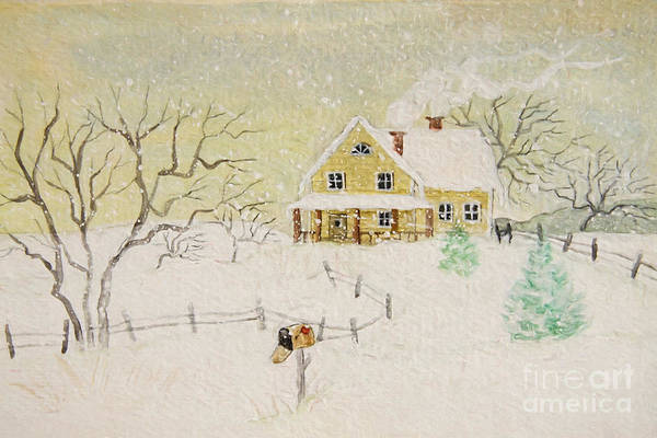 Wall Art - Photograph - Winter Painting Of House With Mailbox/ Digitally Altered by Sandra Cunningham
