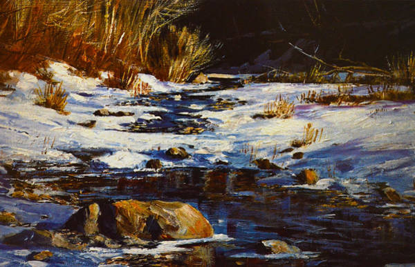 Snow Bank Painting - Winter Pond by Sandi OReilly