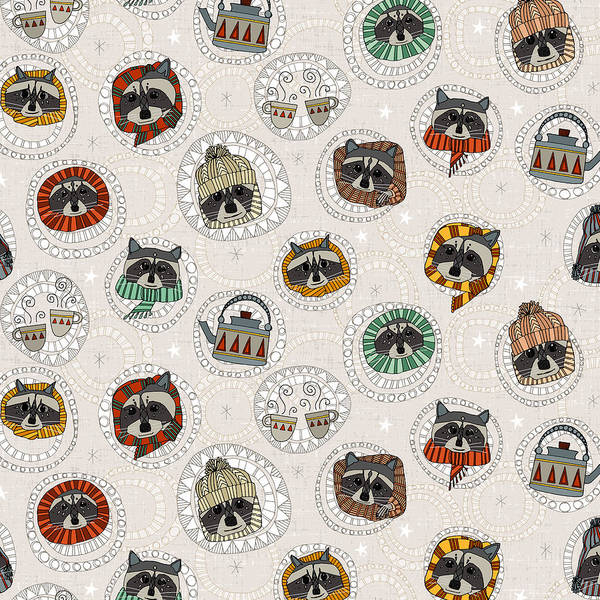 Wall Art - Painting - Winter Racoons by MGL Meiklejohn Graphics Licensing