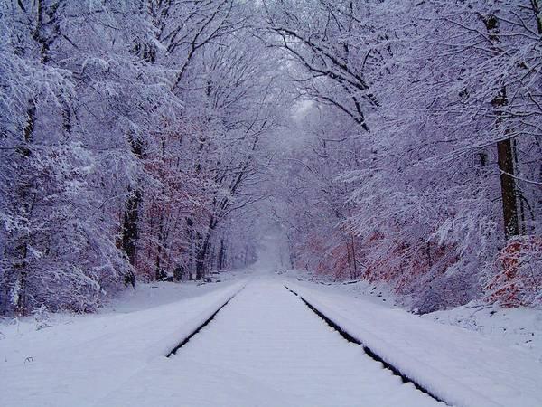 Train Photograph - Winter Rails by Greg Kear