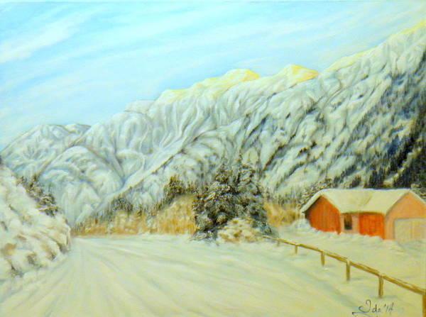 Fencepost Painting - Winter Ride by Ida Eriksen