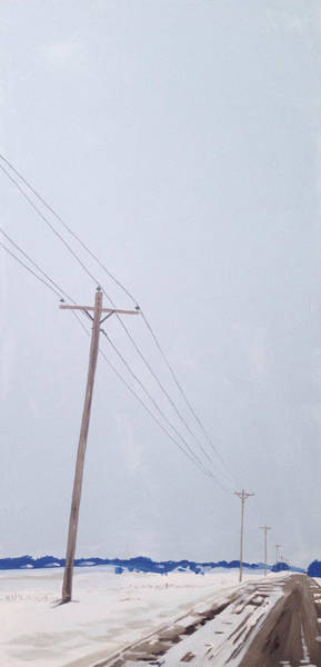 Utility Poles Painting - Winter Road by Jeffrey Bess