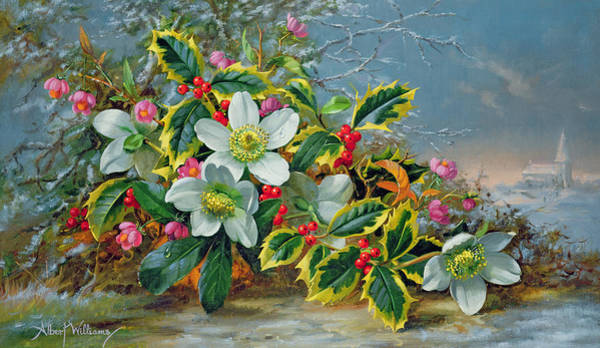 Icy Leaves Wall Art - Painting - Winter Roses In A Landscape by Albert Williams