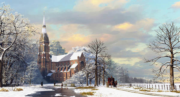 Church Digital Art - Winter Scene by MGL Meiklejohn Graphics Licensing