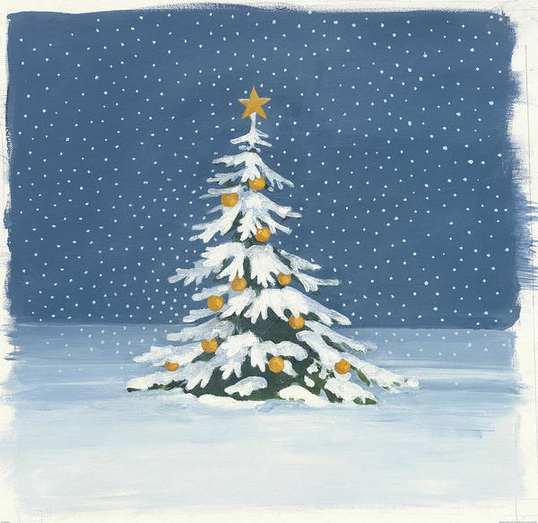 Christmas Tree Painting - Winter Scene Iv by Wild Apple Portfolio