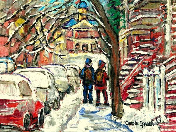 Painting - Winter Scene Painting Rows Of Snow Covered Cars First School Day After Christmas Break Montreal Art by Carole Spandau