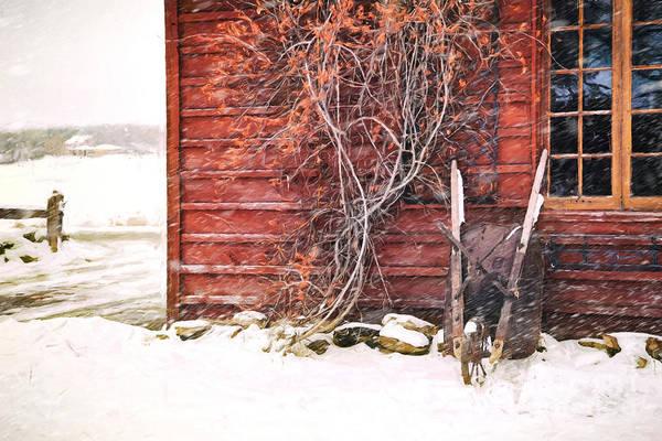Photograph - Winter Scene With Barn And Wheelbarrow/ Digital Painting  by Sandra Cunningham