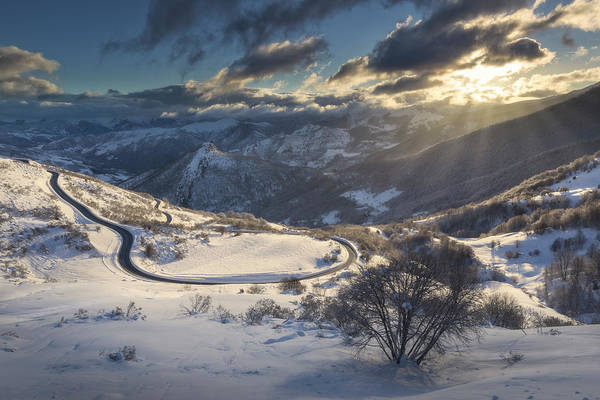 Mark Iv Wall Art - Photograph - Winter Scenery With Road And Mountains by Nestor Rodan
