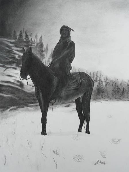 Wall Art - Drawing - Winter Scout-apsaroke by Charles Rogers