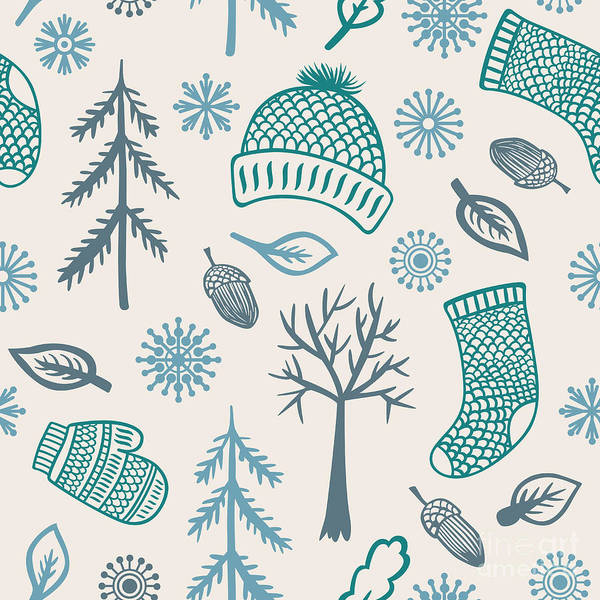 Wall Art - Digital Art - Winter Seamless Pattern With Knitted by Marmarto