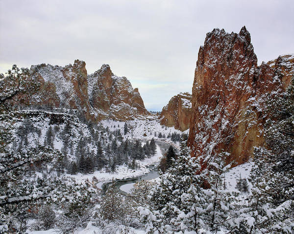 Crooked River Photograph - Winter Snow At Smith Rock State Park by Panoramic Images