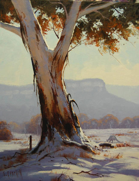 Eucalyptus Wall Art - Painting - Winter Snow Gum by Graham Gercken