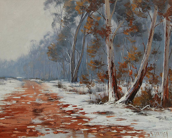 Wall Art - Painting - Winter Snow Gums  by Graham Gercken