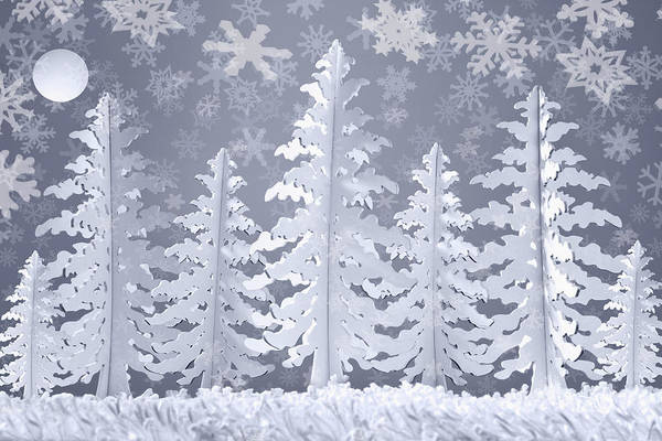 Outdoors Digital Art - Winter Snow Scene Made From Card And by Andrew Bret Wallis